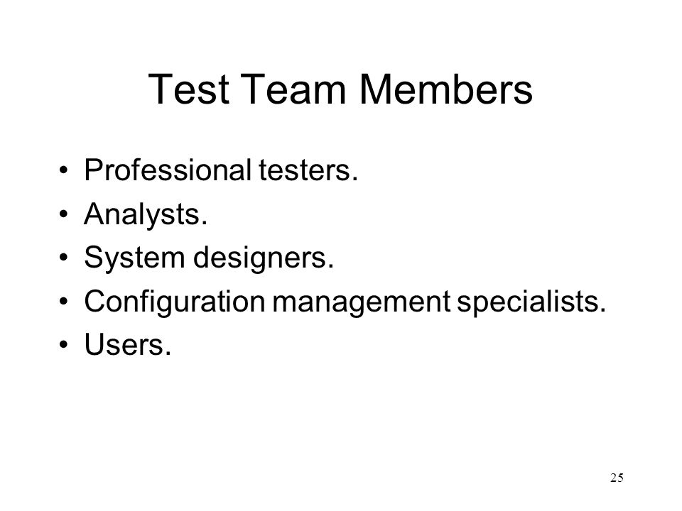 Test Team Members Professional testers. Analysts. System designers.