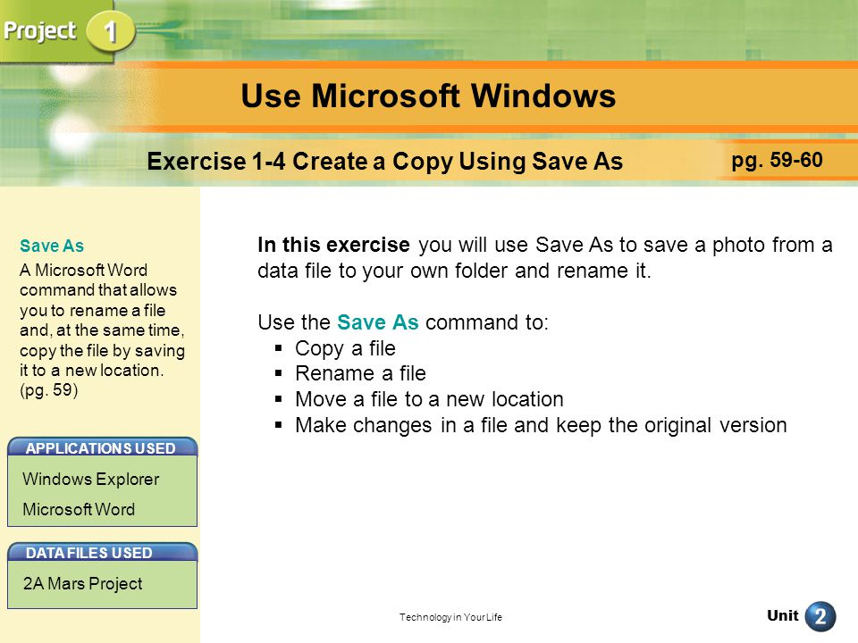 Exercise 1-4 Create a Copy Using Save As