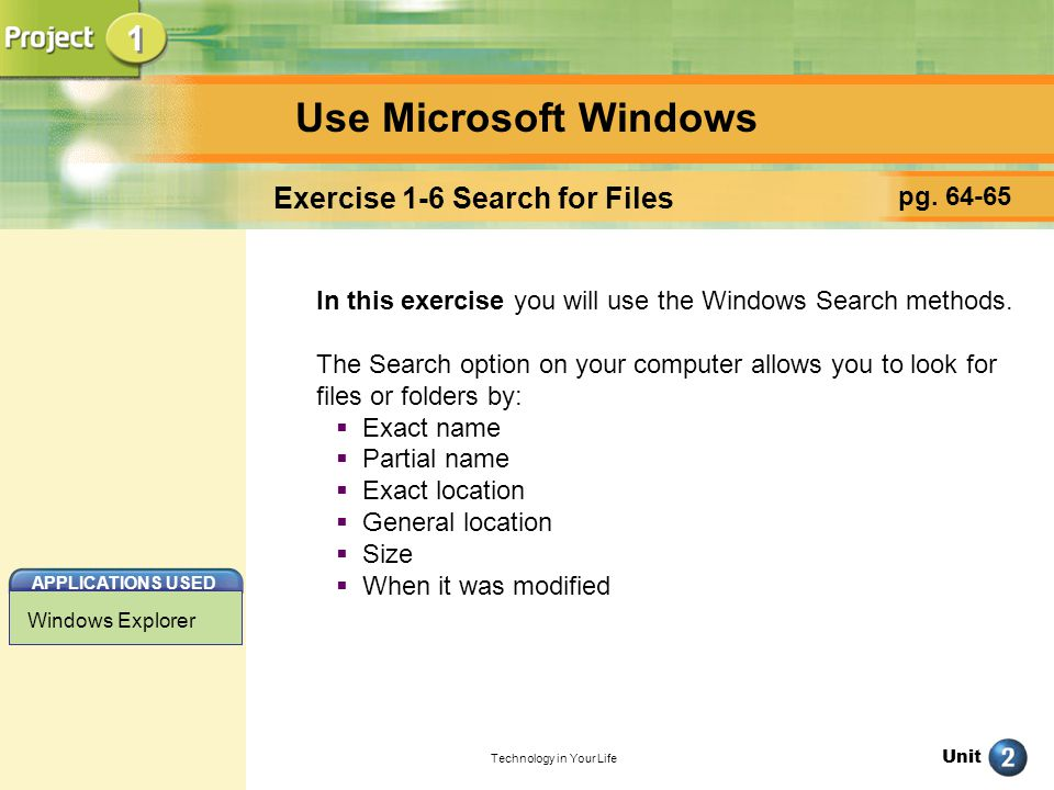 Exercise 1-6 Search for Files