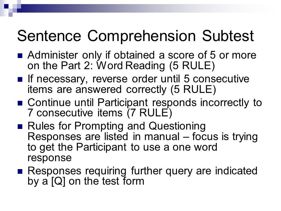 Sentence Comprehension Subtest