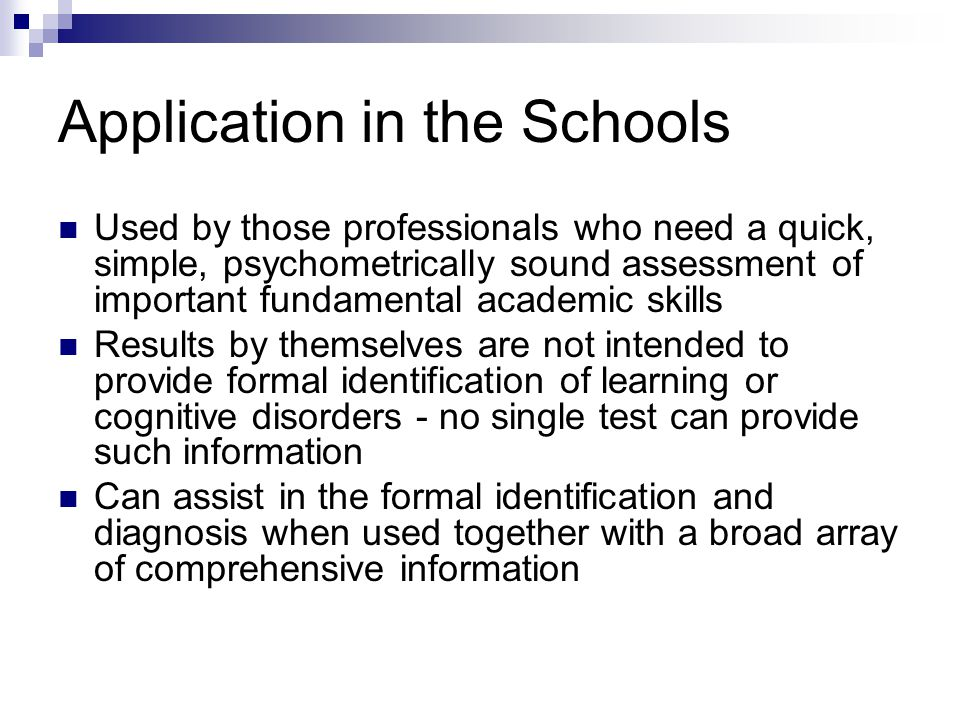 Application in the Schools