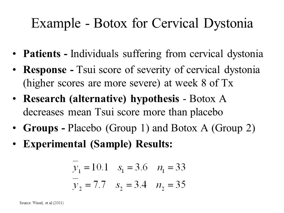 Example - Botox for Cervical Dystonia