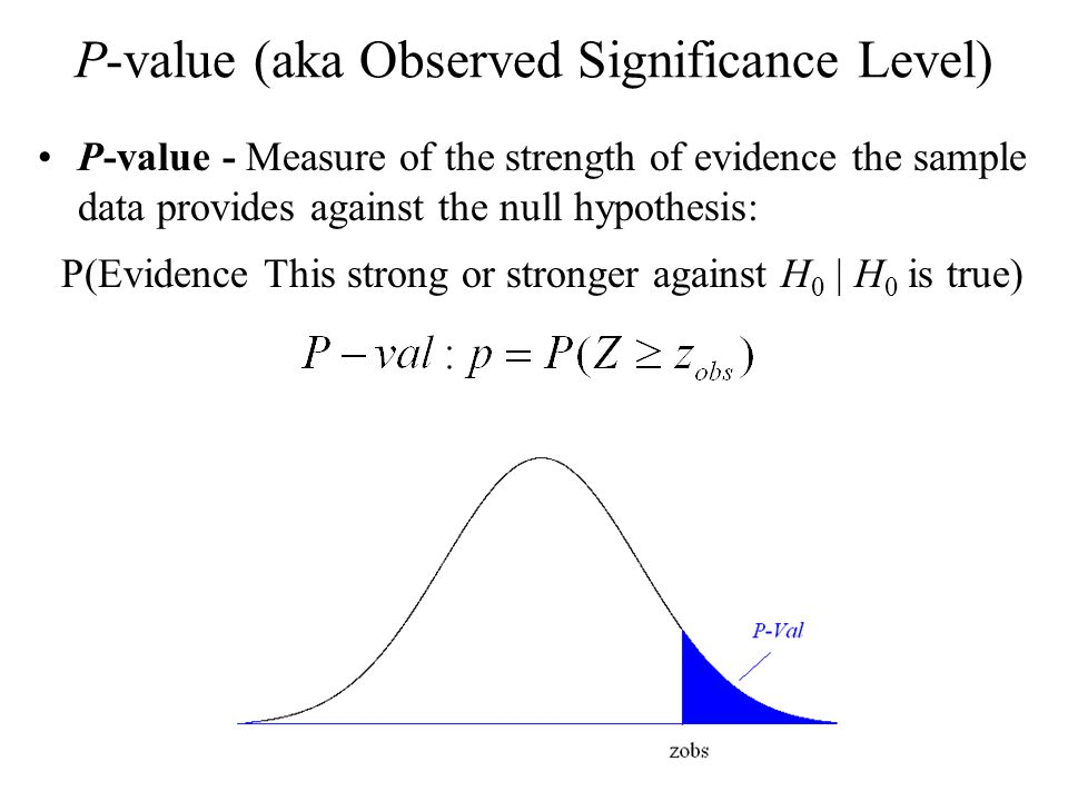 P-value (aka Observed Significance Level)