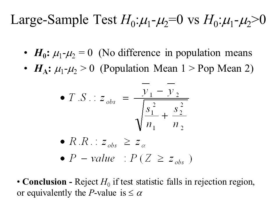 Large-Sample Test H0:m1-m2=0 vs H0:m1-m2>0