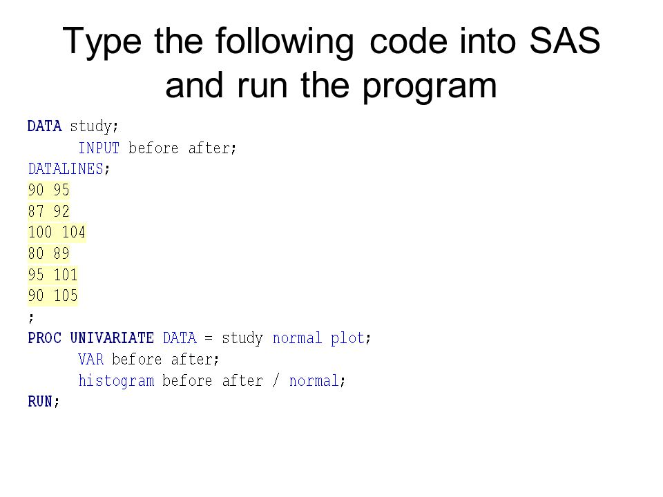 Type the following code into SAS and run the program