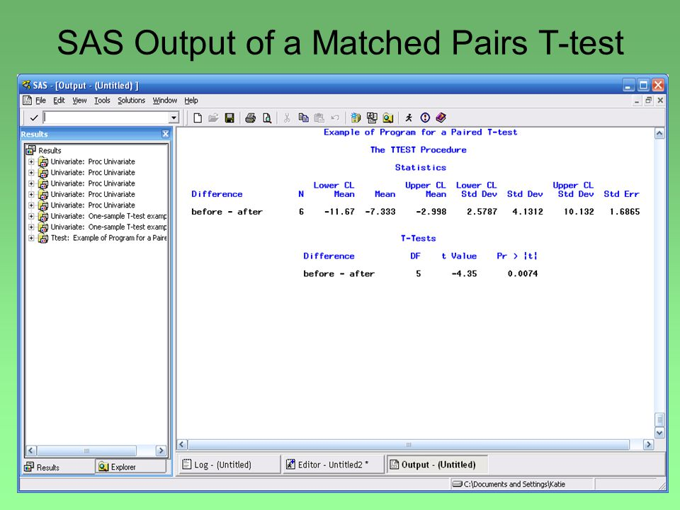 SAS Output of a Matched Pairs T-test