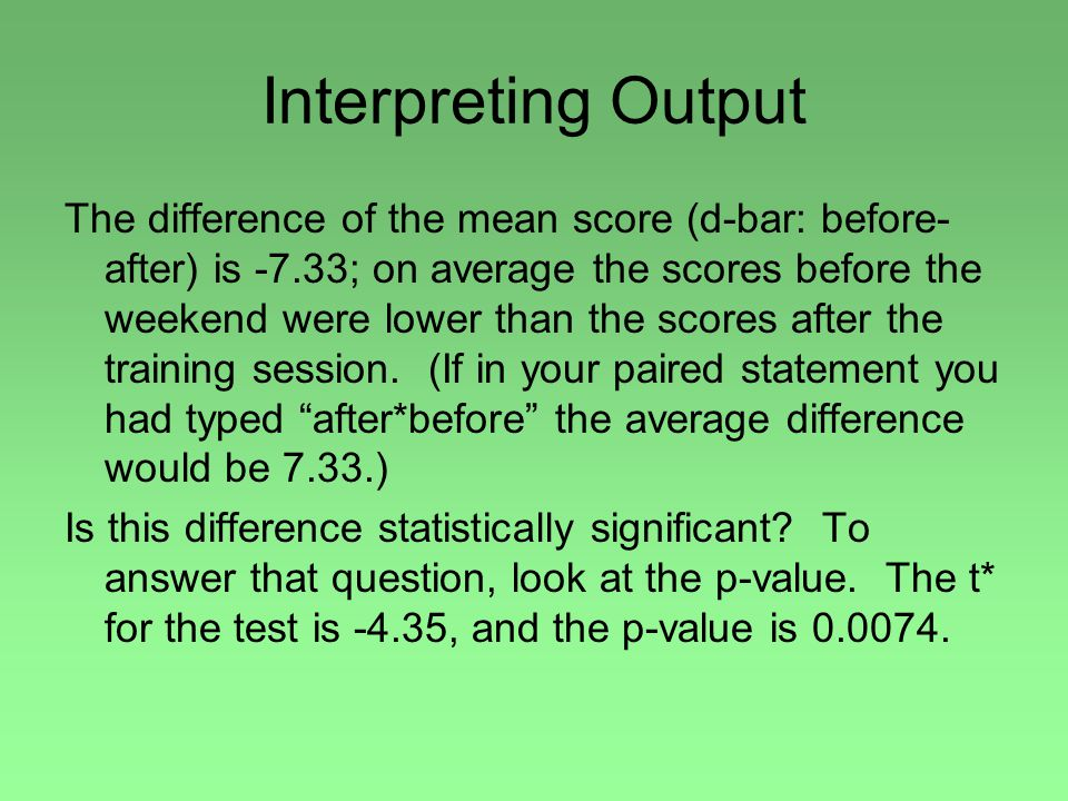 Interpreting Output