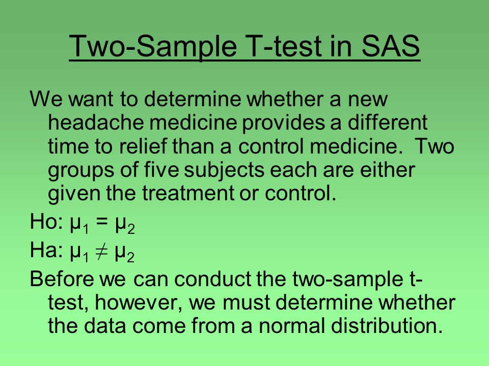 Two-Sample T-test in SAS