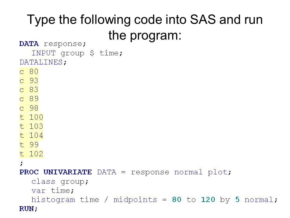 Type the following code into SAS and run the program: