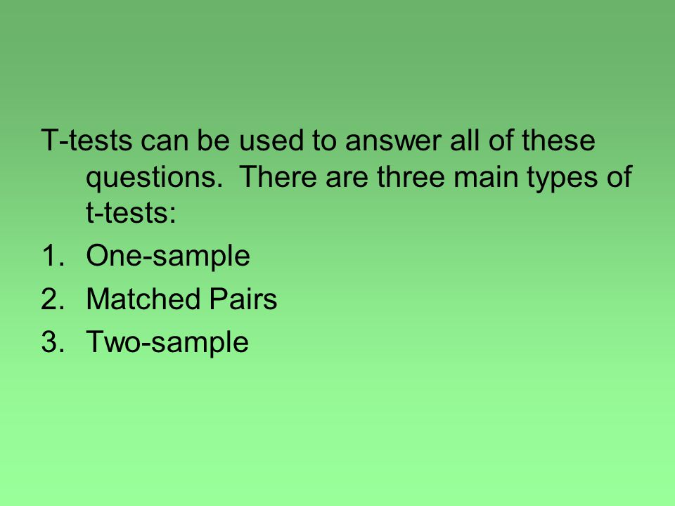 T-tests can be used to answer all of these questions