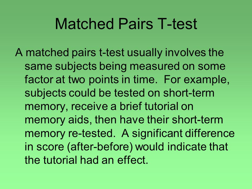 Matched Pairs T-test