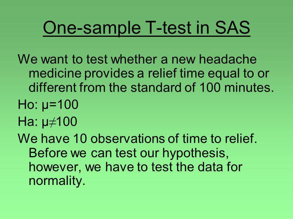 One-sample T-test in SAS