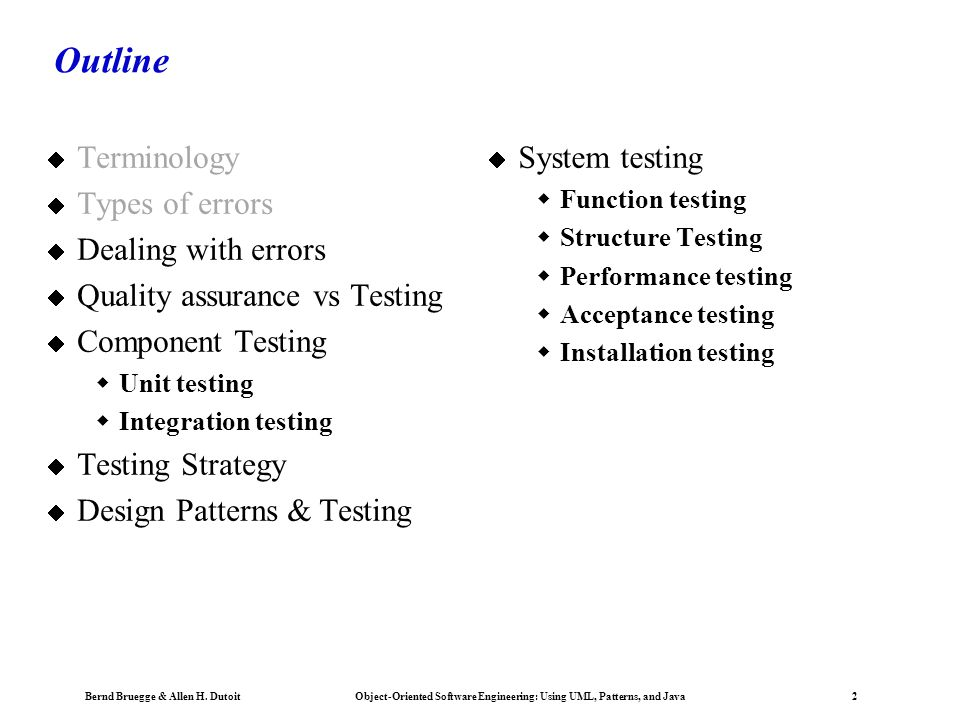 Outline Terminology Types of errors Dealing with errors