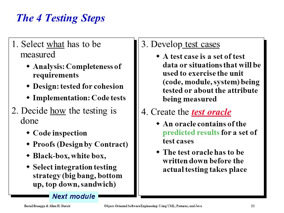 The 4 Testing Steps 1. Select what has to be measured
