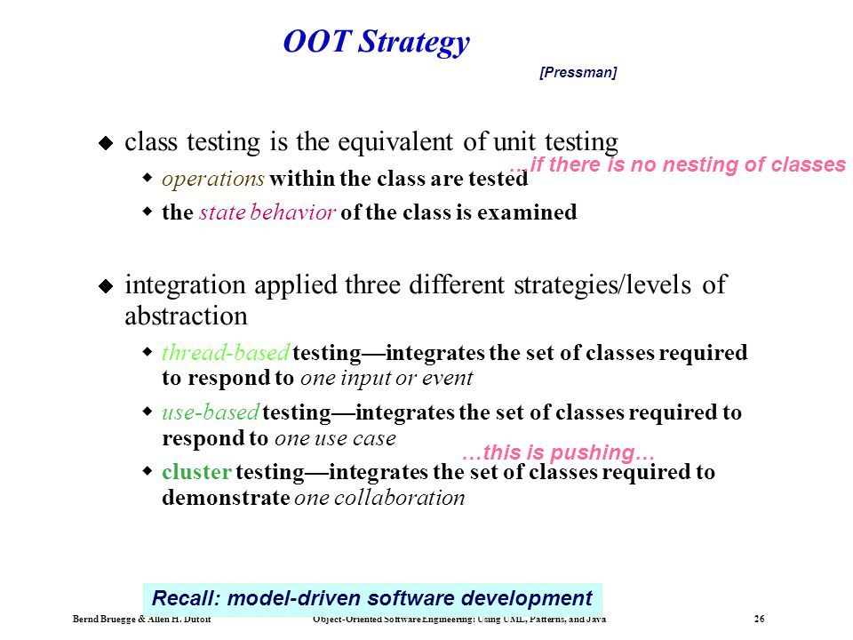 OOT Strategy class testing is the equivalent of unit testing