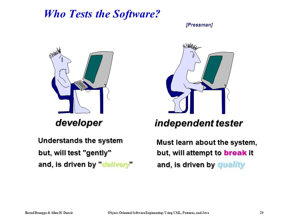 Who Tests the Software developer independent tester