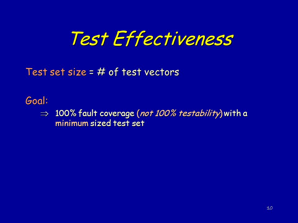 Test Effectiveness Test set size = # of test vectors Goal: