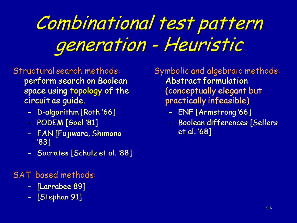 Combinational test pattern generation - Heuristic