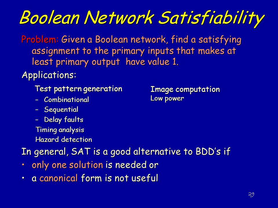 Boolean Network Satisfiability