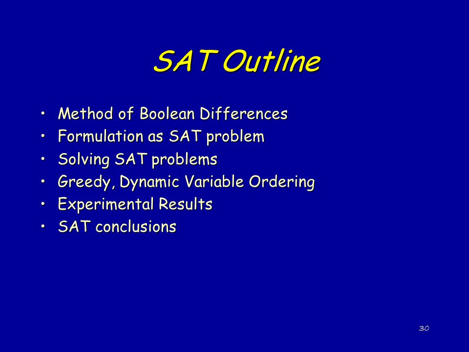 SAT Outline Method of Boolean Differences Formulation as SAT problem