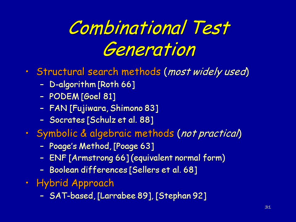 Combinational Test Generation