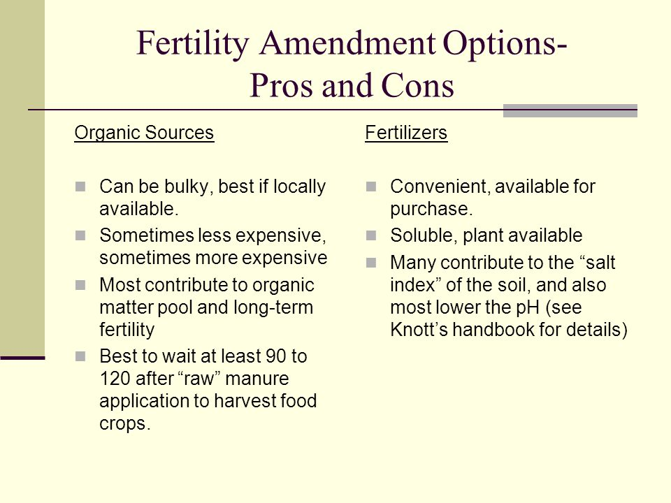 Fertility Amendment Options- Pros and Cons