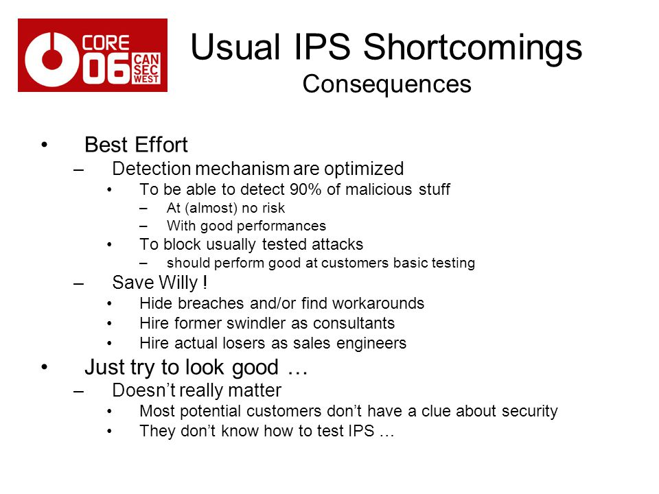 Usual IPS Shortcomings Consequences