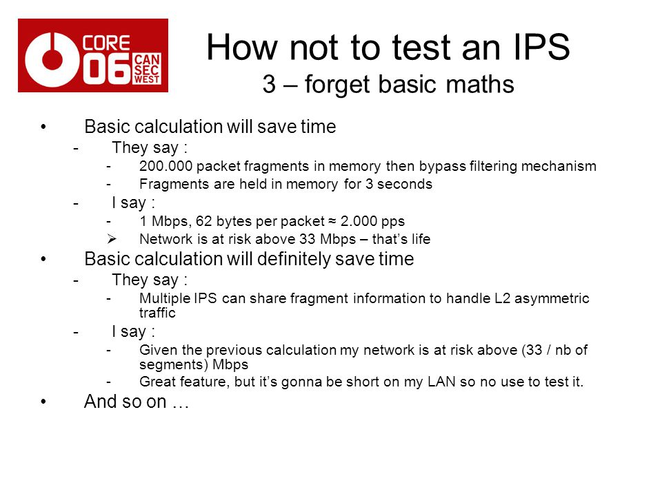 How not to test an IPS 3 – forget basic maths