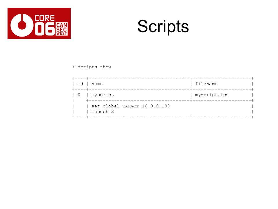 Scripts > scripts show