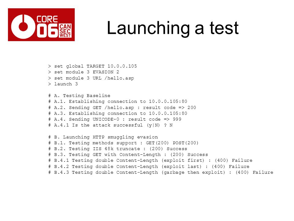 Launching a test > set global TARGET 10.0.0.105