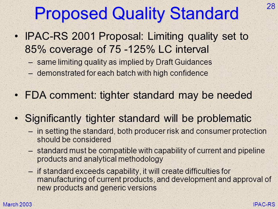 Proposed Quality Standard