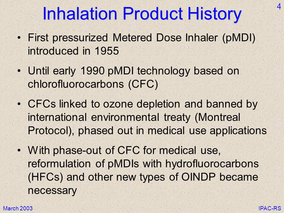 Inhalation Product History