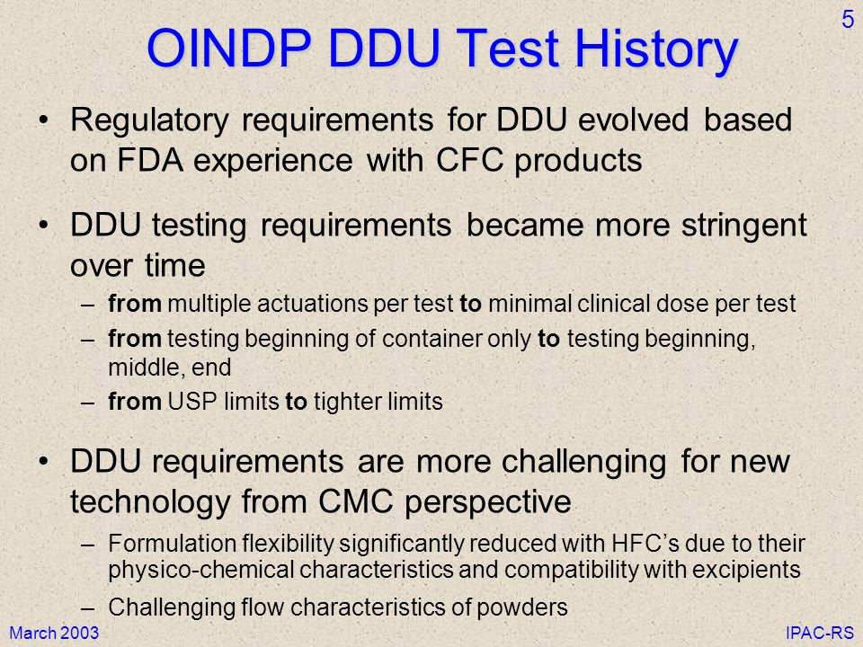 OINDP DDU Test History Regulatory requirements for DDU evolved based on FDA experience with CFC products.