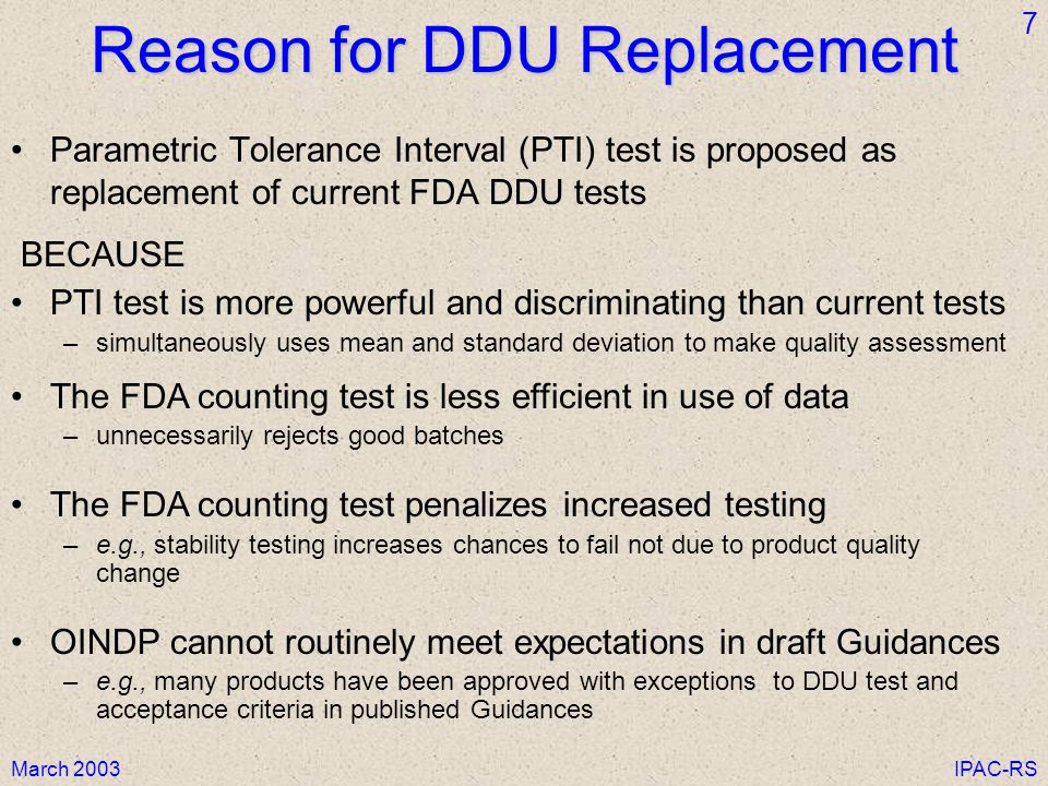 Reason for DDU Replacement