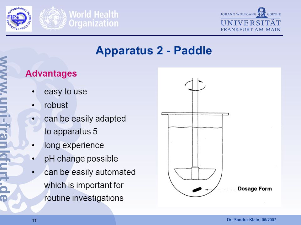 Apparatus 2 - Paddle Advantages easy to use robust