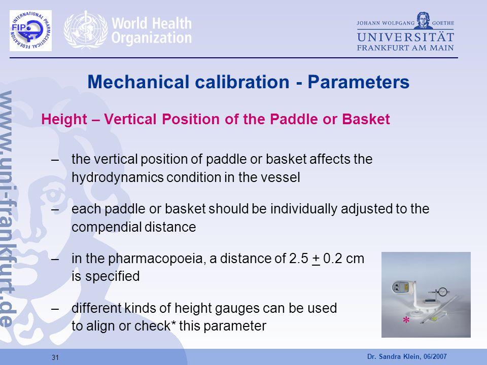 Mechanical calibration - Parameters