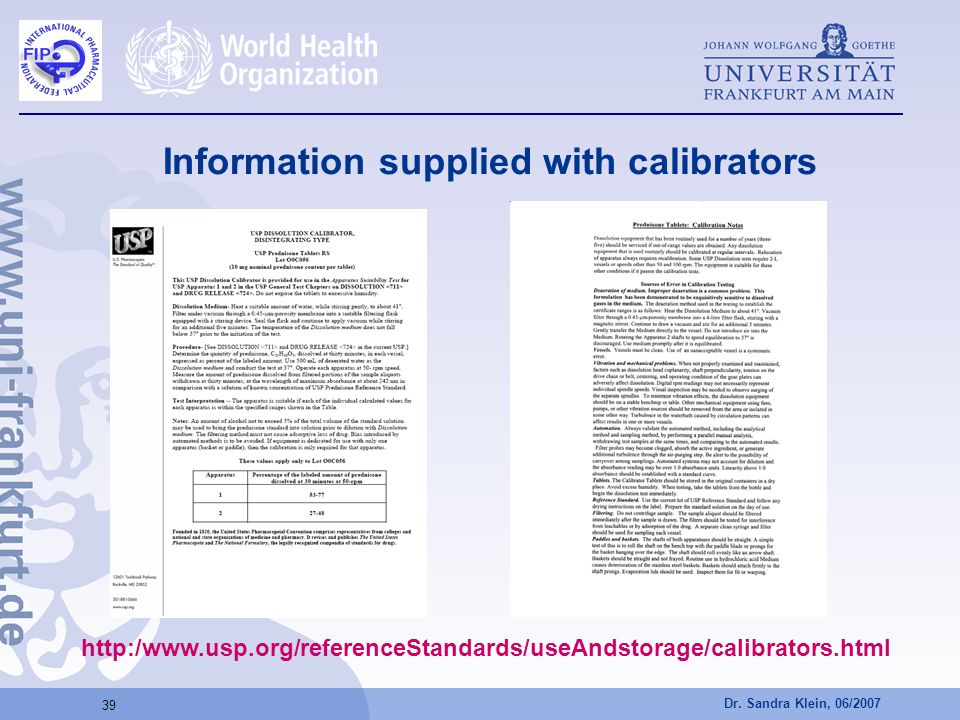 Information supplied with calibrators