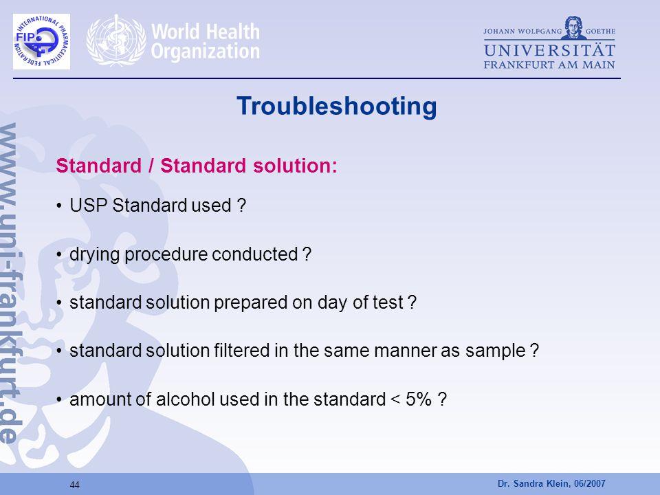 Troubleshooting Standard / Standard solution: USP Standard used