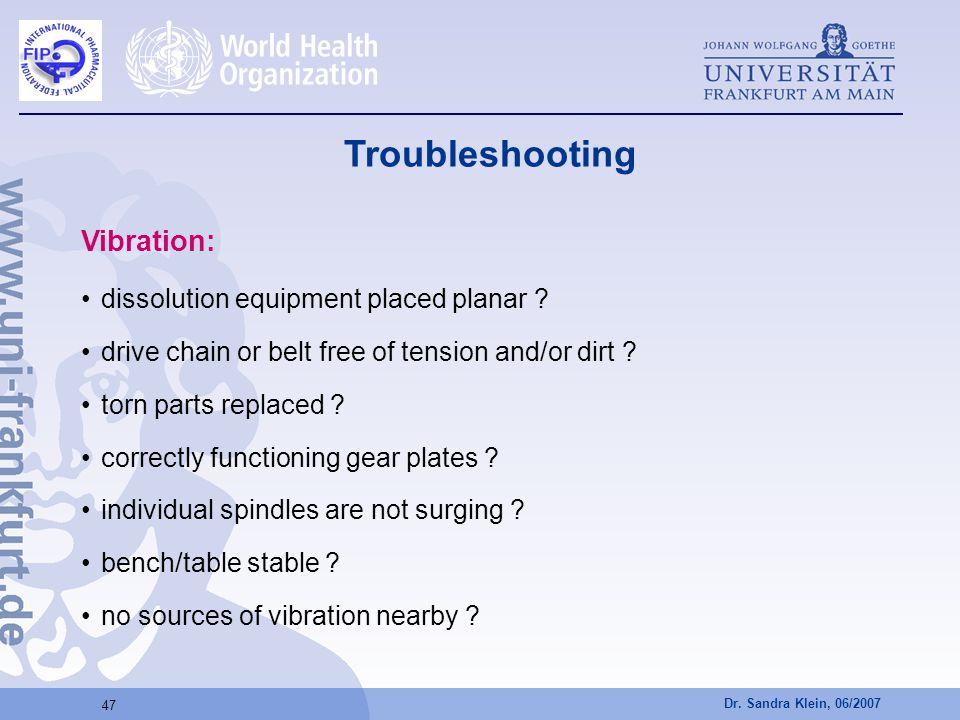 Troubleshooting Vibration: dissolution equipment placed planar