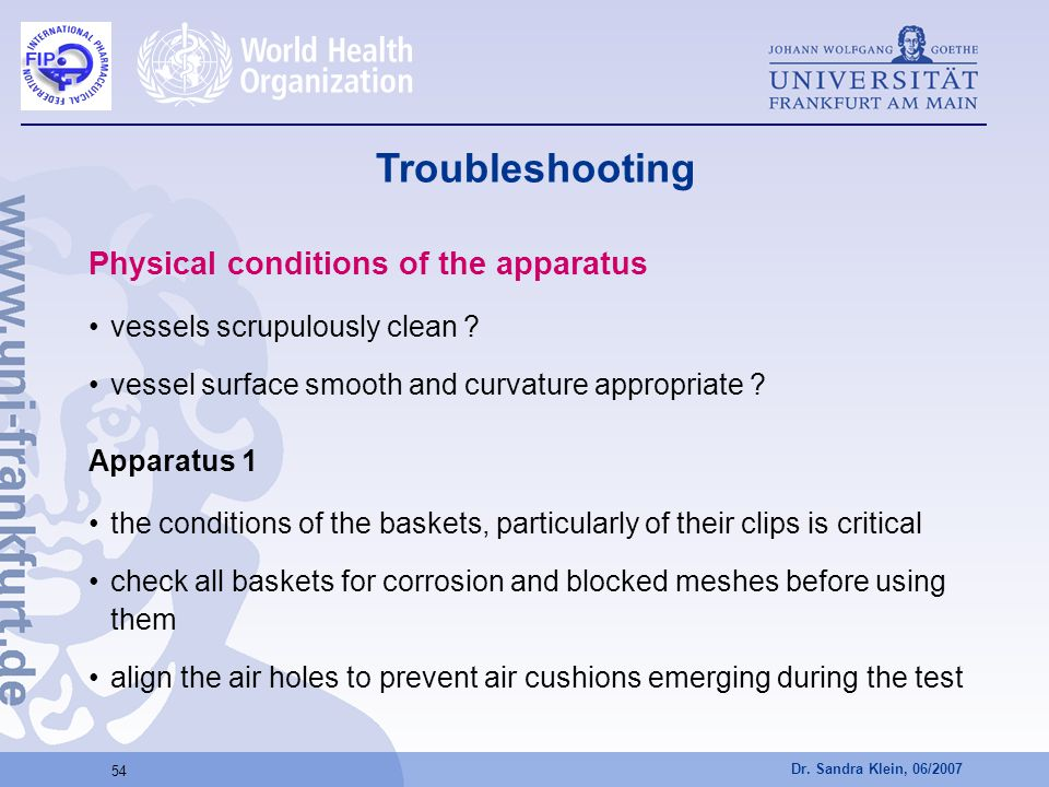 Troubleshooting Physical conditions of the apparatus