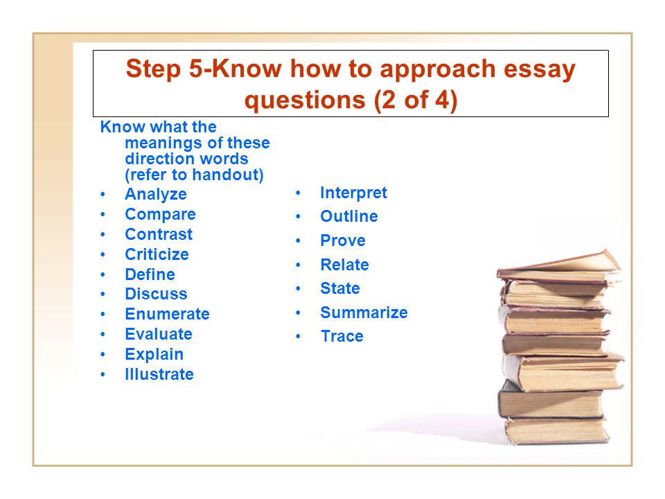 Step 5-Know how to approach essay questions (2 of 4)