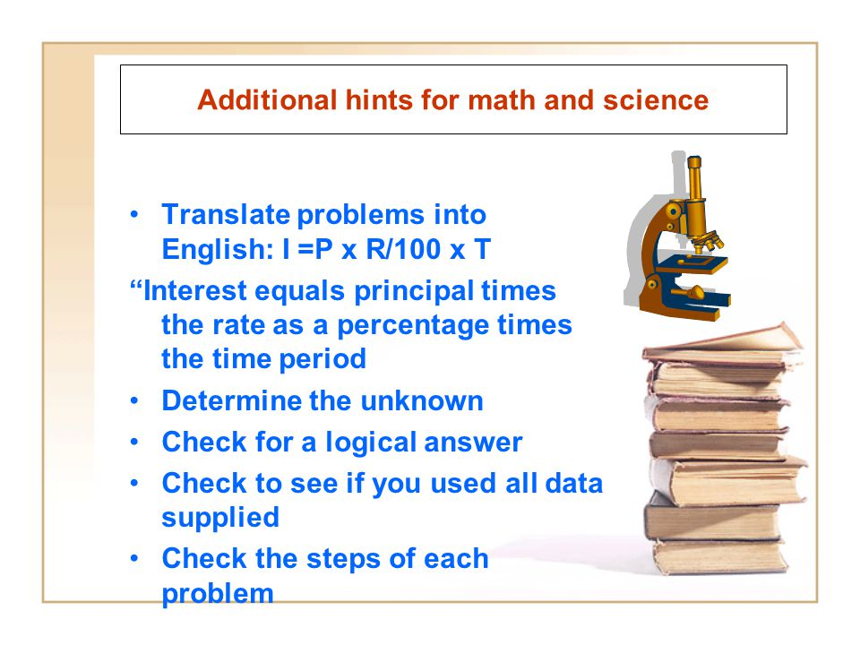 Additional hints for math and science