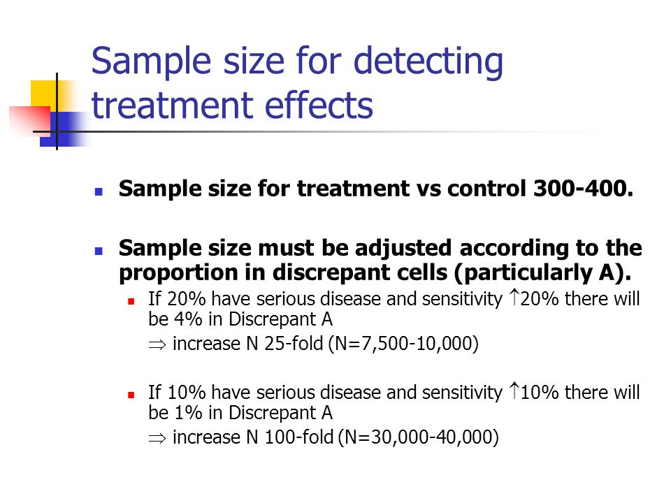 Sample size for detecting treatment effects