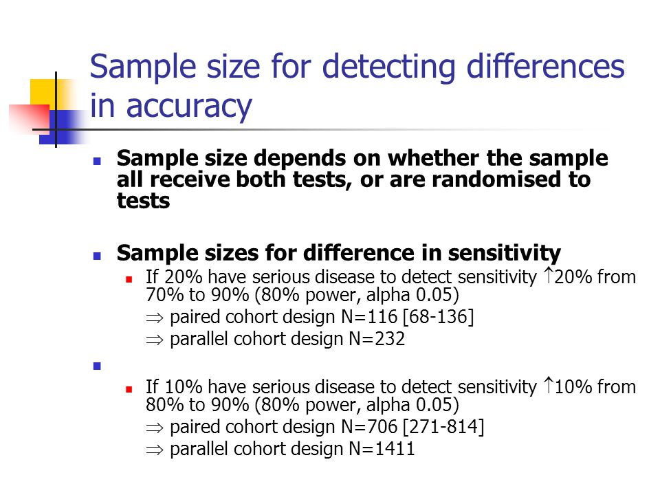 Sample size for detecting differences in accuracy
