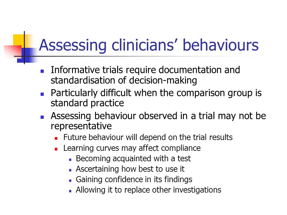 Assessing clinicians' behaviours