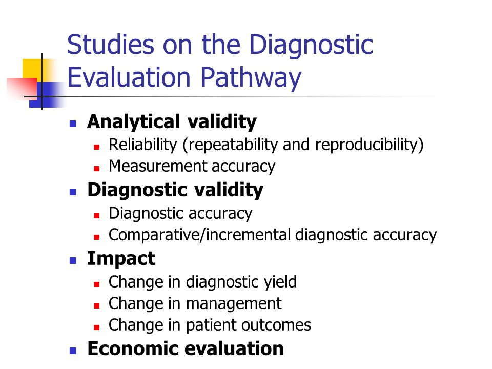 Studies on the Diagnostic Evaluation Pathway
