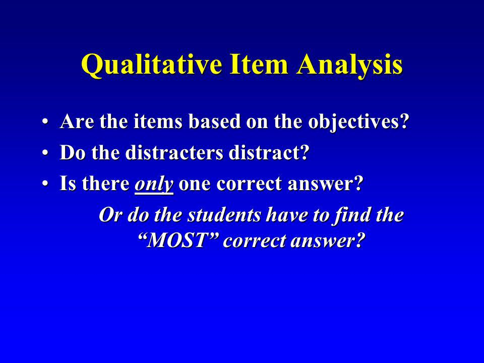 Qualitative Item Analysis