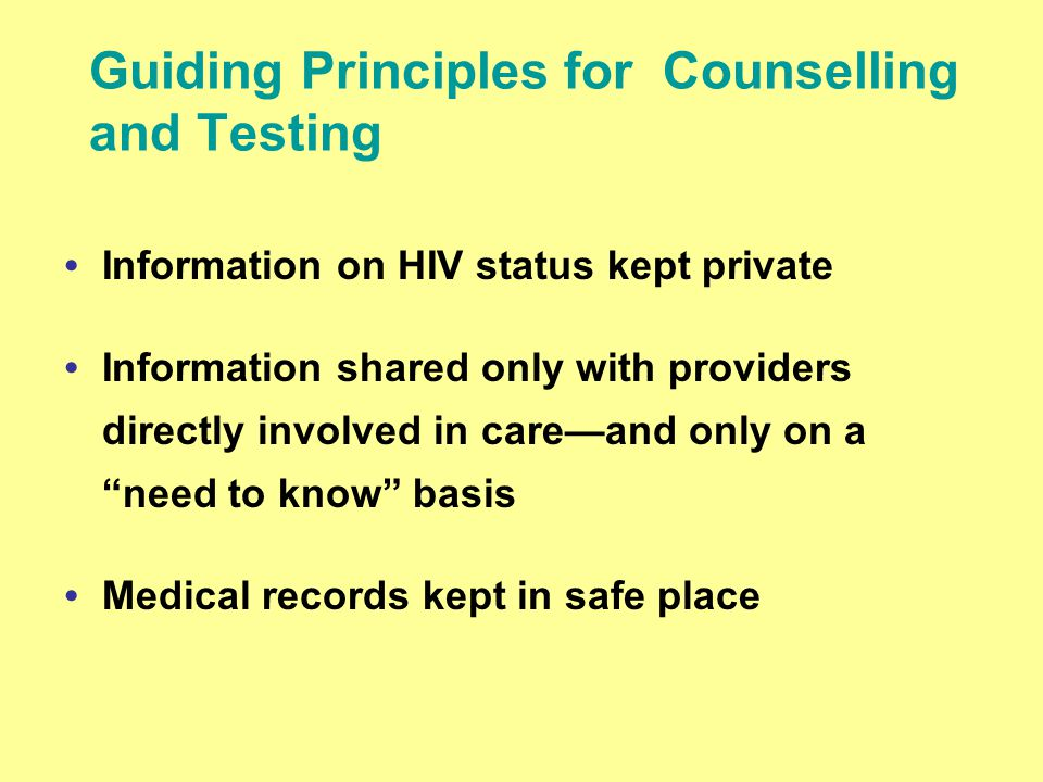 Guiding Principles for Counselling and Testing