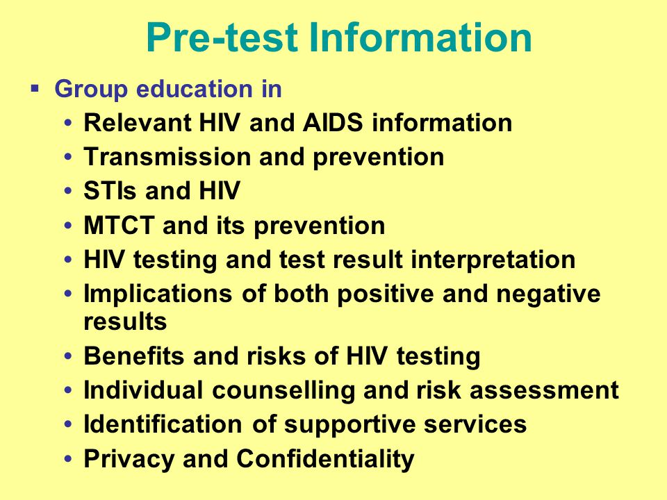 Pre-test Information Relevant HIV and AIDS information