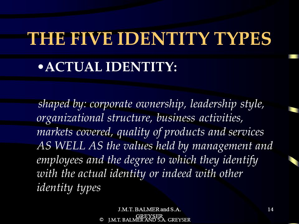 THE FIVE IDENTITY TYPES